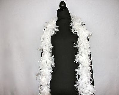 WHITE w/SILVER TINSEL Feather Boas Chandelle 6 Feet 60 grams Best Price on eBay (White Boa Feathers)