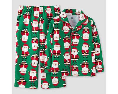Toddler Boys Green Santa Christmas/Holiday Button Down Shirt/Pants 2 Pc Pajamas (Holiday Toddler Pajamas)