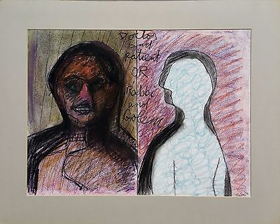 """Michael Steiner, """"Doctor and Patient or Rabbi and Golen"""", Pastel,18""""hx24""""w image"""