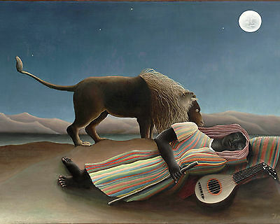 Henri Rousseau Sleeping Gypsy Painting w/ Lion Moon Guitar Real Canvas Art (Henri Rousseau Canvas Painting)