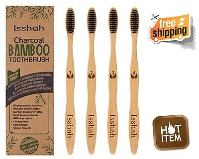 Natural Bamboo Charcoal Toothbrush Set of 4 Toothbrushes Best Oral