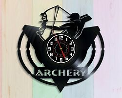 Archery Target Vinyl Record Wall Clock Art Sports Sign Logo Decor Archer Figure