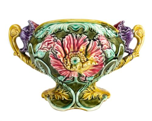 Antique Frie Onnaing France Art Nouveau Majolica Floral Planter 815 Very Rare