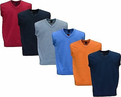 Mens Plain V Neck Sleeveless Sweater Jumper Tank Top Jersey Golf Casual M - XXL