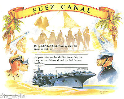 Suez Canal Certificate new unused US Naval Institute