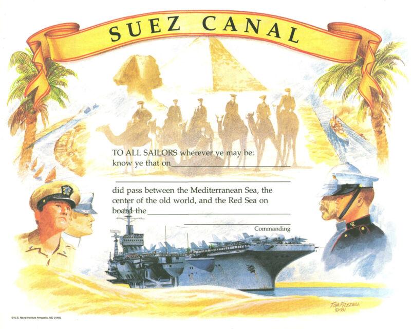 Suez Canal Certificate new unused US Naval Institute