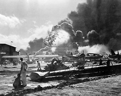 EXPLOSION @ FORD ISLAND AIR STATION DEC 7 1941 PEARL HARBOR  8X10 PHOTO (AA-911)