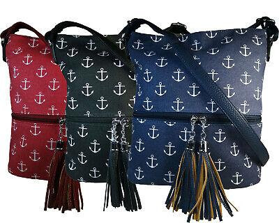 Schultertasche Handtasche (Tasche Damentasche Handtasche Schultertasche Maritim Anker Farbwahl NEU!!!)