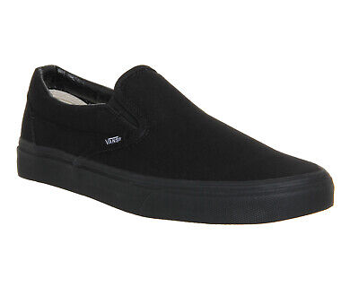 Mens Vans Classic Slip On Trainers Black Mono Trainers Shoes