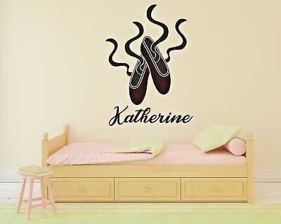 Ballerina Shoes Customizable Name Wall Decal Decor Girl Room Stickers J298
