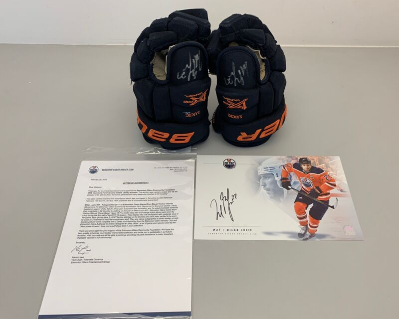Milan Lucic Game Worn Autographed 2017-2018 Gloves Edmonton Oilers Certified
