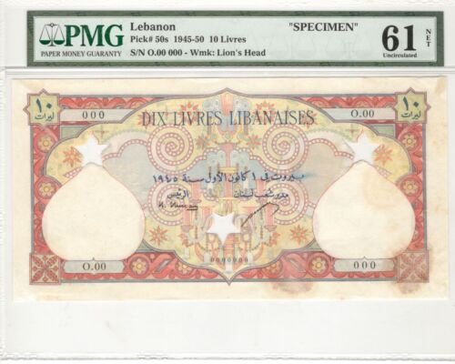 Lebanon 10 Livres 1945 - 50 Pick#50s **SPECIMEN** UNC PMG 61
