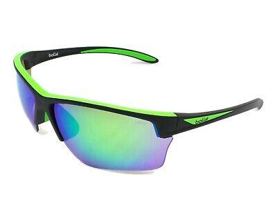Bolle Flash Sunglasses - 12213 - Matte Black/Green w Brown/ Emerald Mirror (Green Flash Sunglasses)