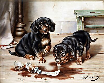 Two Dachshund Puppies.. Canvas Fine Art. 11x14  Print for sale  Brick