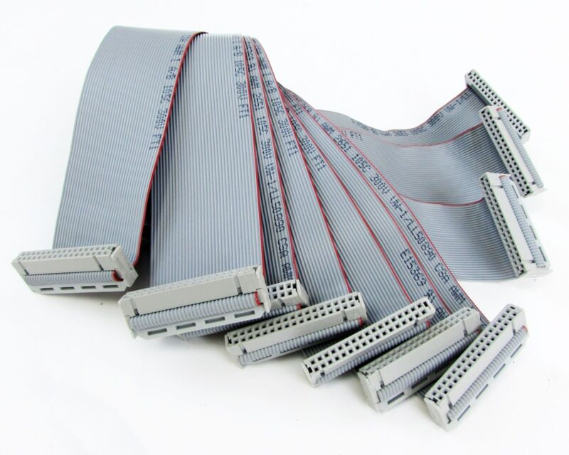 Lot of (10) E15369 Female-To-Female 20 Pin Ribbon Cable