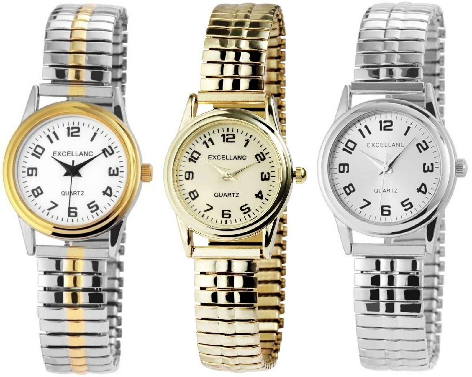Excellanc Damenuhr mit Metall-Zugband Analog Damen-Uhr Klassische Armbanduhr