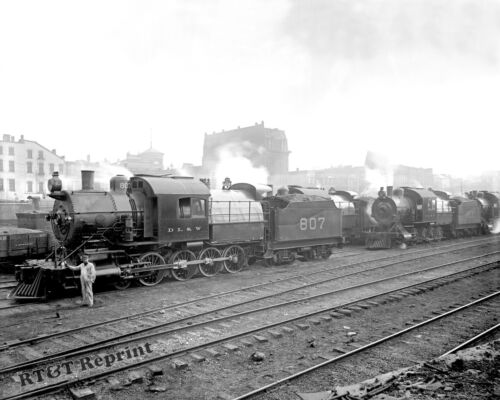 Historical Photograph of Group of Lackawanna Freight Train Engines  1895c  8x10