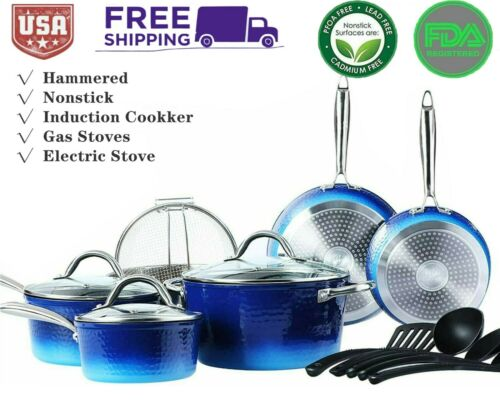 Chefhome 15 Pcs Hammered Cookware Set Nonstick Granite Coated Pots and Pans Set