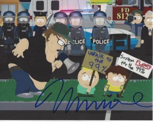 MICHAEL MOORE SIGNED AUTHENTIC 'SOUTH PARK' 8X10 PHOTO COA DOCUMENTARY DIRECTOR