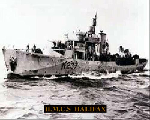 ROYAL CANADIAN NAVY CORVETTE HMCS HALIFAX K237  8 X10 PHOTO WITH STATS SHEET