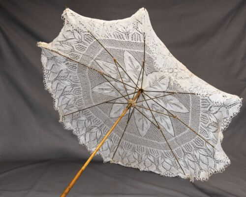 Antique Vintage Victorian Knitted-Crocheted Cover Parasol - Absolutely Beautiful
