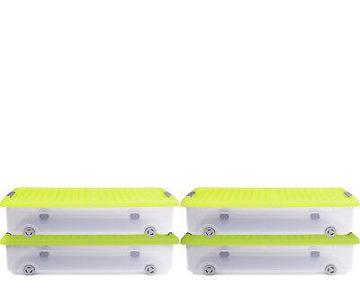 Ondis24 4x Unterbettkommode Rollerbox Unterbettbox Rollbox 35L gelb-transparent