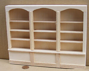1:12 Scale Natural Finish Triple Shelf Unit Dolls House Miniature Furniture