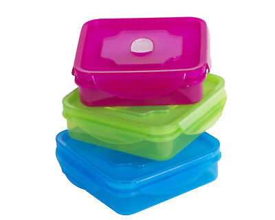 Sandwich Container Box  - Lunch Container With Vented Lids - 3 Pack - Container With Lid