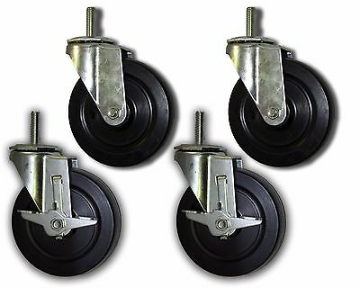 5 Swivel Casters W Rubber Wheel 12x1-12 Threaded Stem - 4 Pk 2 W Brake