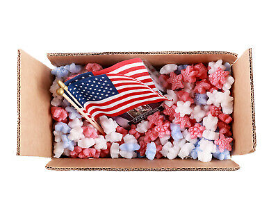 Funpak Packing Peanuts Red White Blue Stars 1.5 Cu Ft Compostable Biodegradable