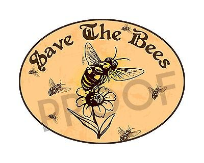 Save The Bees Decal Sticker Vinyl Honey Flowers Nature Food Health 4
