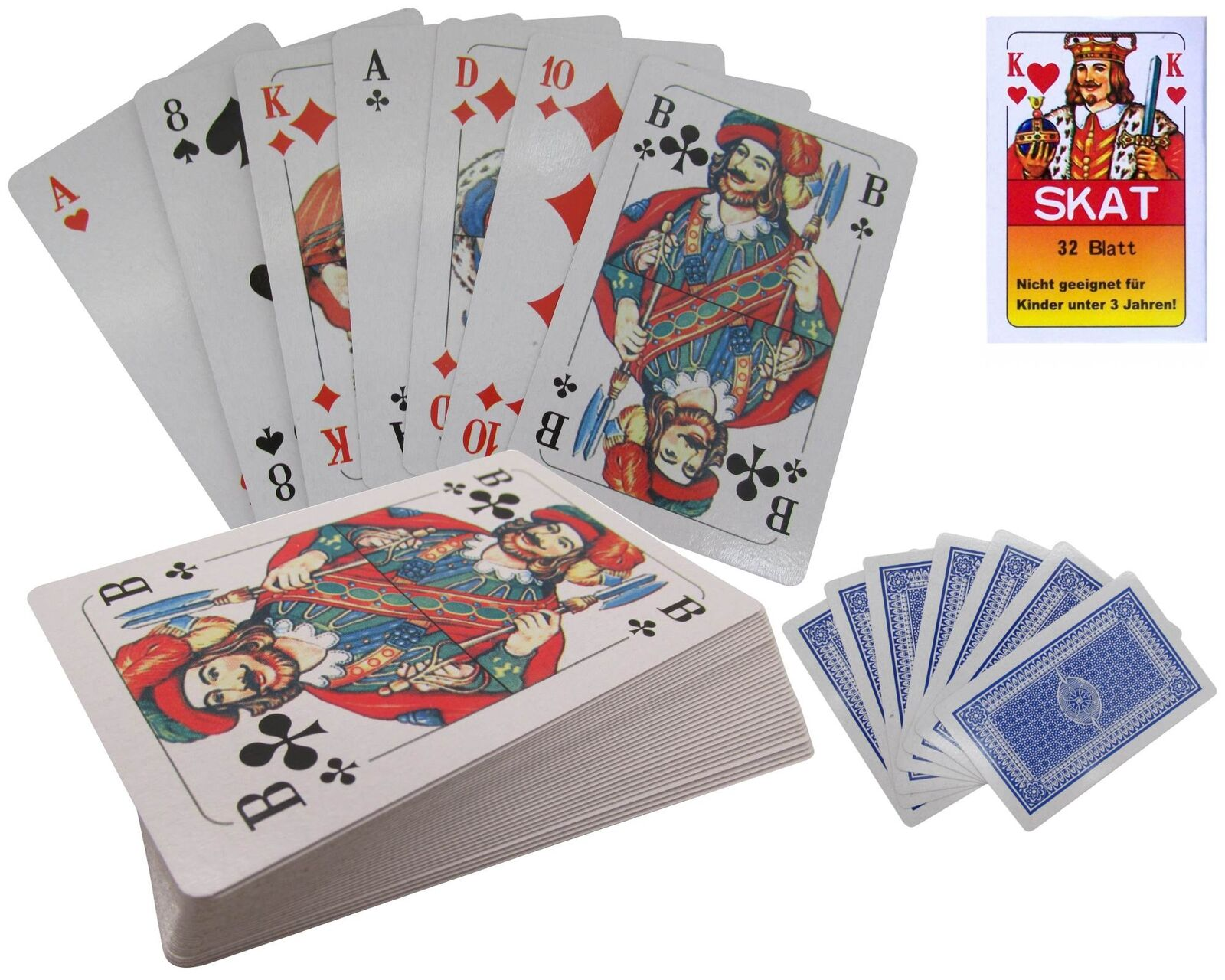Französisches Blatt Spielkarten Skat 2 x Skatkarten Deck mit 32 Blatt Karten