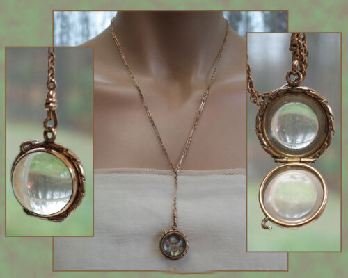 ANTIQUE VICTORIAN Pools of Light Crystal Orb Locket Gold Filled Watch Fob Chain