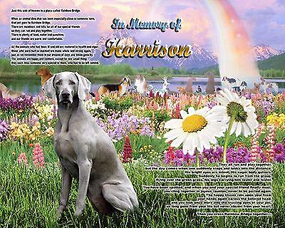 Dog Memorial.Pet Funeral Gift Idea-Weimaraner Rainbow Bridge Personalized w/Name