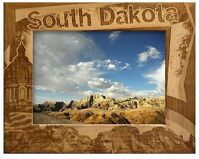 South Dakota Border Style Laser Engraved Wood Picture Frame (5 x -
