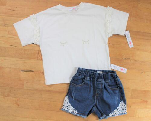 NWT Mae Li Rose Ruffle Sleeve Top and Lace Detail Denim Shorts ~ Size 8 10