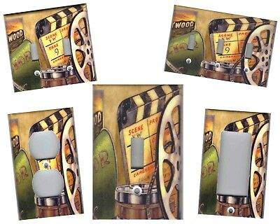 MOVIE FILM REEL WITH MOVIE CLAPPER MOVIE ROOM HOME DECOR LIGHT SWITCH PLATES ()