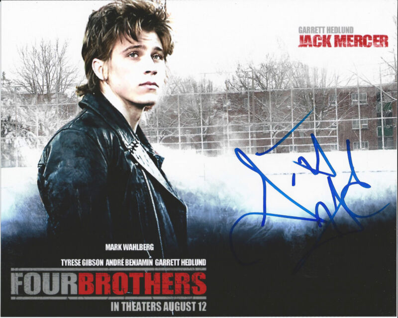 GARRETT HEDLUND SIGNED AUTHENTIC TRON LEGACY FOUR BROTHERS C 8X10 PHOTO w/COA