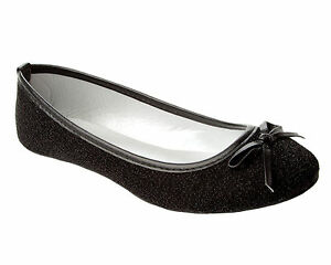 NEW WOMENS GLITTER PARTY FLAT DOLLY BALLET PUMPS SHOES LADIES UK SIZE 3-8