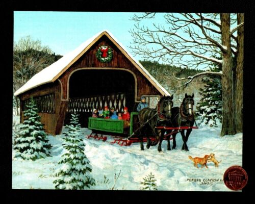 CHRISTMAS Horses Sleigh Bridge Tunnel Dogs GLITTERED Greeting Card - W/ TRACKING