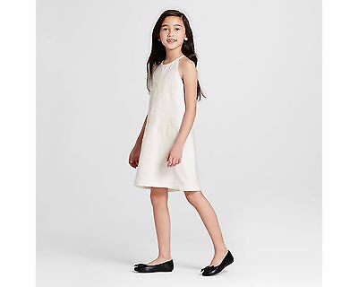White Casual Dresses For Girls (Girls' White High Neck Floral Appliqué Dress Size L  Victoria Beckham for)
