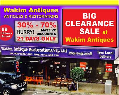 BIG CLEARANCE SALE AT WAKIM ANTIQUES!!! Brunswick Moreland Area Preview