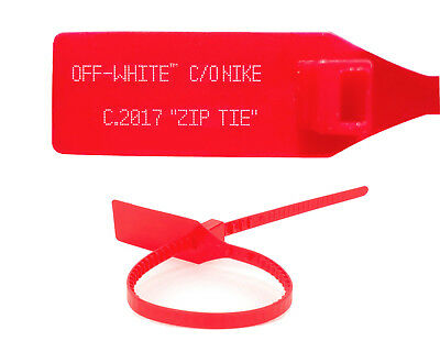 CUSTOM RED OFF WHITE ZIP TIE WITH PRINTED OFF WHITE TEXT THE TEN REPLACEMENT TIE