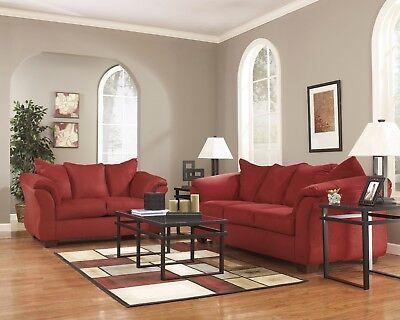 Ashley Furniture Darcy Salsa Sofa and Loveseat Living Room Set