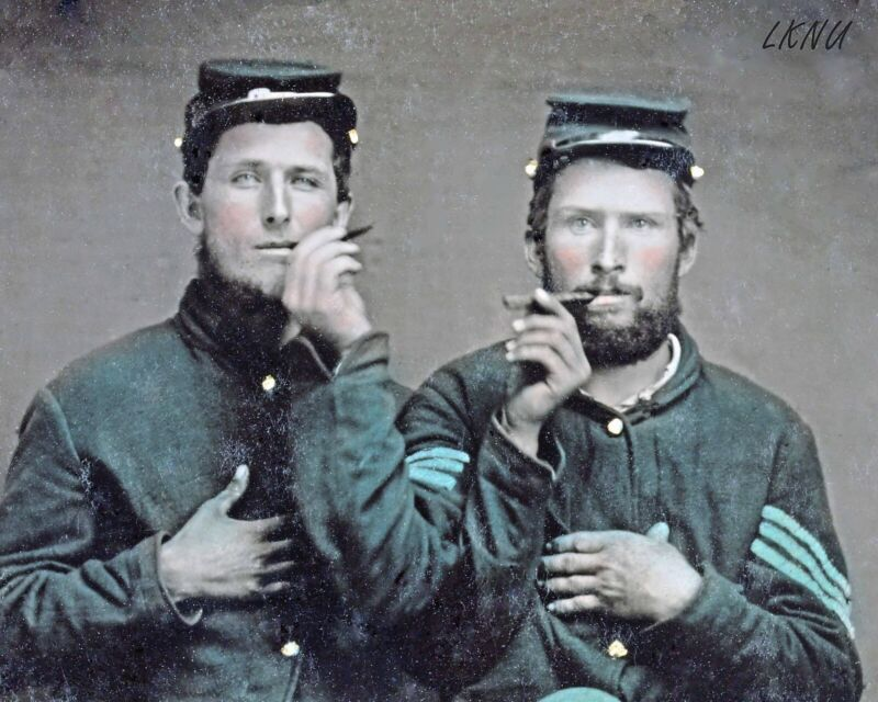 8 by 10 Civil War Photo Print 2 Union Soldiers Sharing Cigars