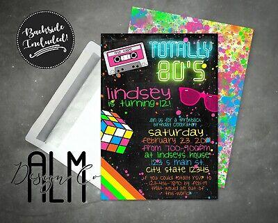 80s Birthday Invitation - Personalized DIGITAL 80s invitation -YOU PRINT (80s Birthday Invitations)