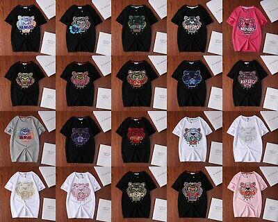 20 Color Couple Unisex Tiger Head Embroidered Kenzo Paris T-Shirt