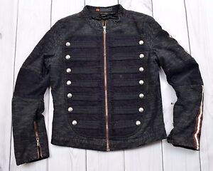 Parasuco-Jean-Jacket-Black-Full-zip-Military-Style-Buttons-Steampunk-Women-Large