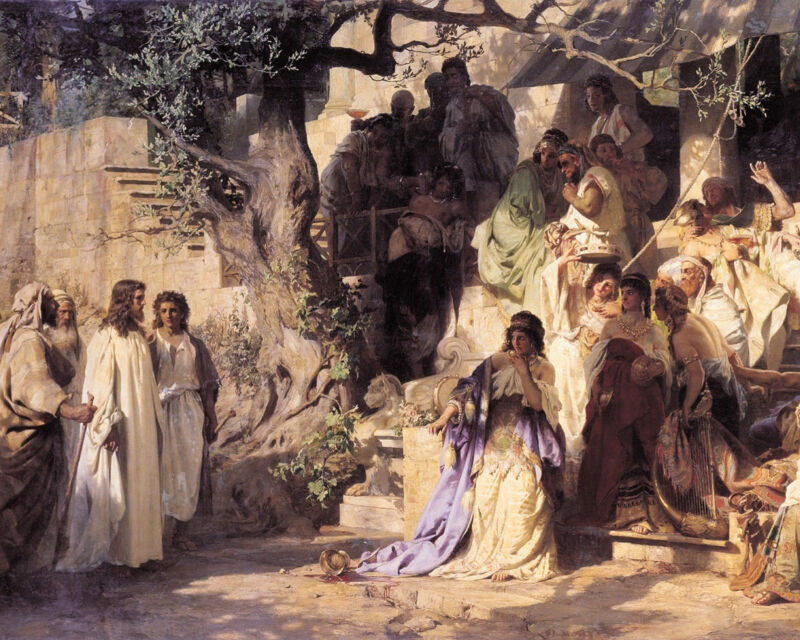 Bible Art Jesus Christ And The Sinner Painting Christian Real Canvas Art Print