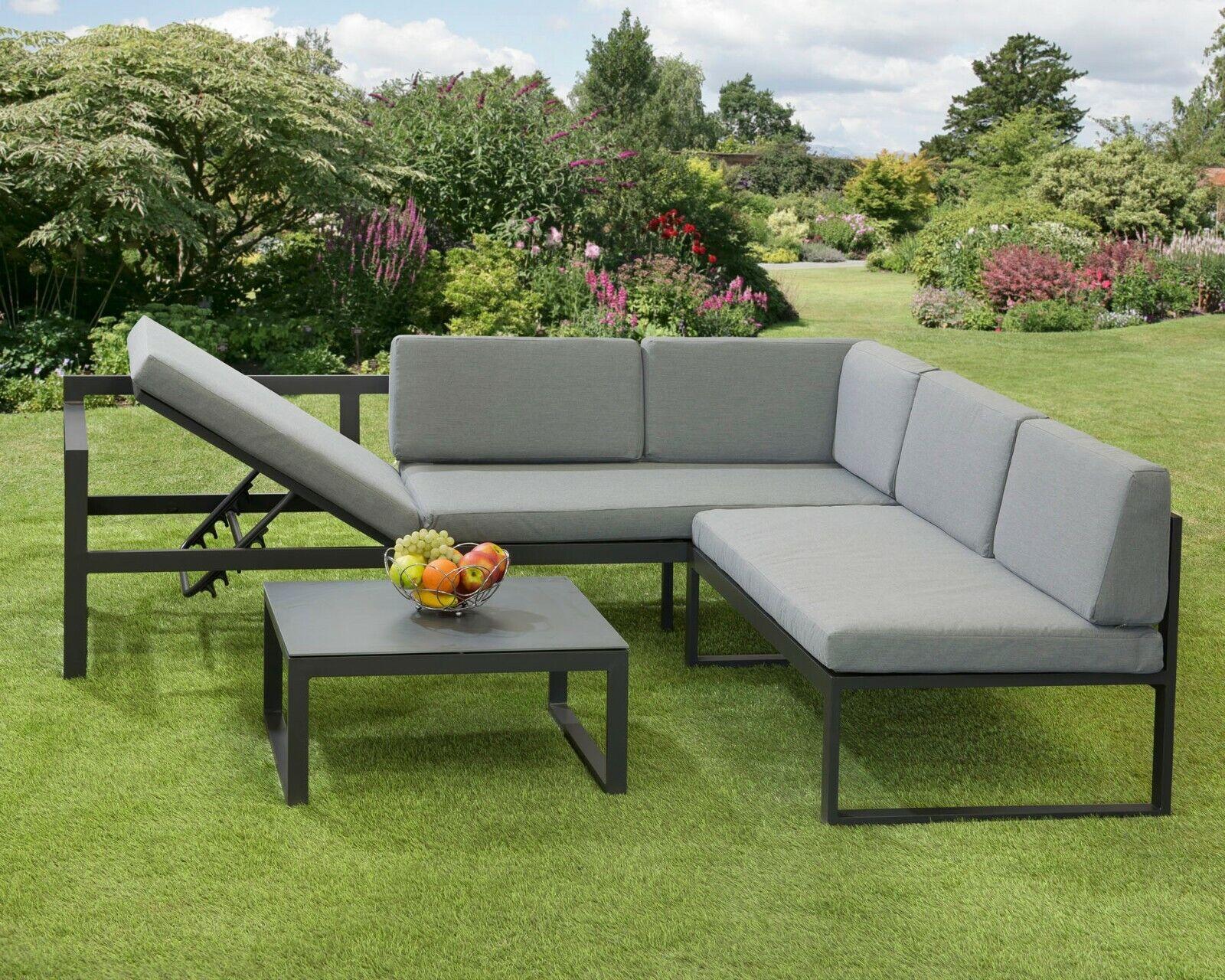 Garden Furniture - Corner Garden Furniture Aluminium Frame Convertible Sun lounger Fully Assembled